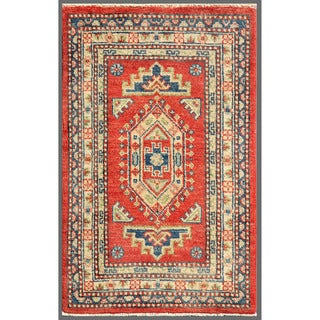 Imported Afghan Hand-Knotted Kazak Red/Ivory Wool Rug (2' x 3'1