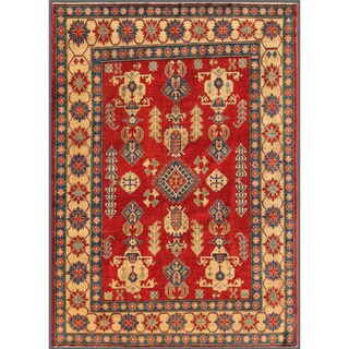 Afghan Hand-knotted Kazak Red/ Beige Wool Rug (6'7 x 9'2)