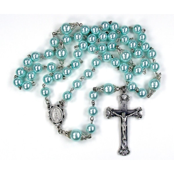Silverplated Light Green Glass Pearl Rosary