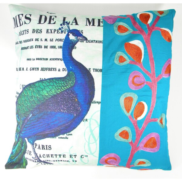 Peacock Printed and Stitched Cushion Cover