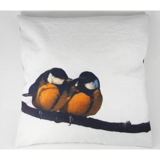 Love Birds Silk-Screen Printed Cushion Cover