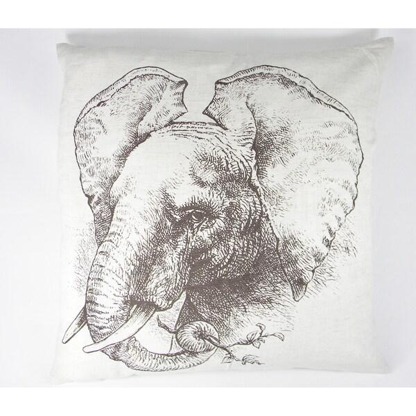 Elephant Silk-Screen Printed Cushion Cover