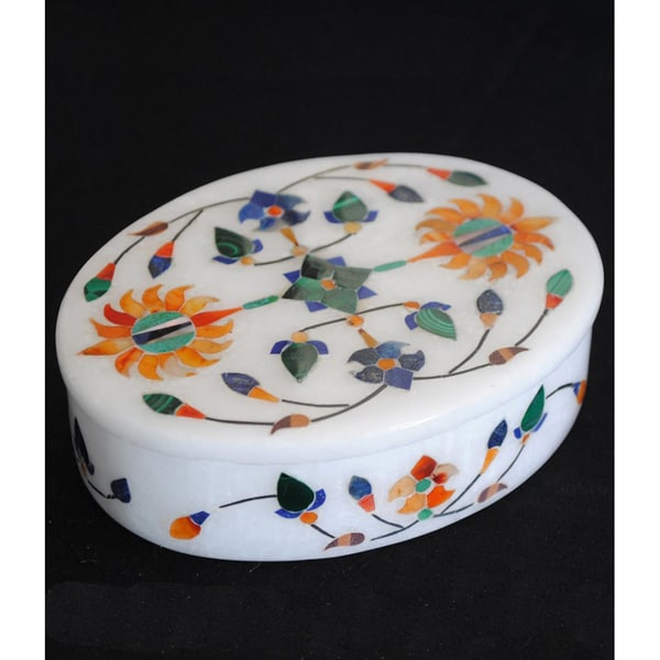 Marble Oval Jewelry Box (India)