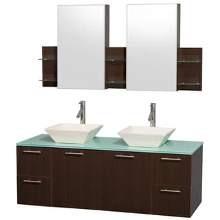 Wyndham Collection 'Amare' 60-inch Espresso/ Green Top/ Bone Sink Vanity Set