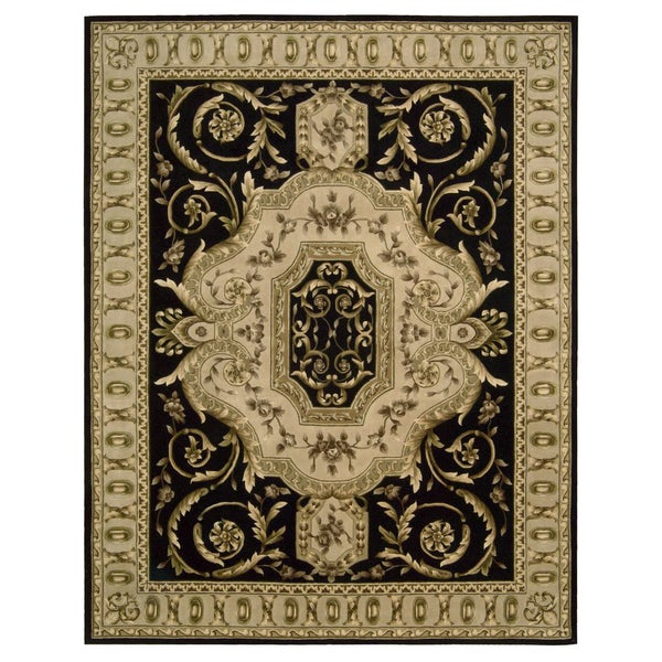 Nourison Hand-tufted Versailles Palace Black Floral Rug (9'6 x 13'6)