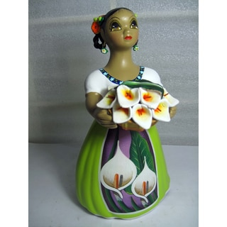 Handcrafted Traditional Mexican Lupita Doll Flower seller (Mexico)