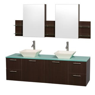 Wyndham Collection 'Amare' 72-inch Espresso/ Green Top/ Bone Sink Vanity Set