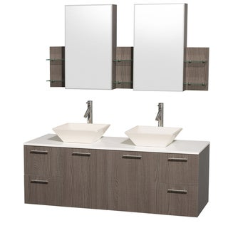 Wyndham Collection 'Amare' 60-inch Grey Oak/ White Top/ Bone Sink Vanity Set