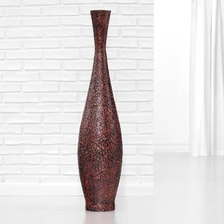 PoliVaz Embossed Bronze Large Trumpet Floor Vase (Indonesia)