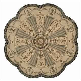 Nourison Hand-tufted Versailles Palace Beige/ Green Rug (8' x 8') Scalloped