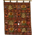Orange Hand-Embroidered Mayan Tapestry (Guatemala)