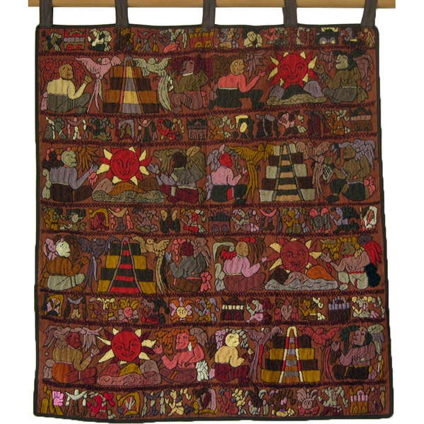 Multicolored Hand-Embroidered Mayan Tapestry (Guatemala)