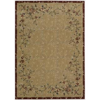 Cambridge 'Flowering Vines' Beige/ Red Rug (5'3 x 7'4)