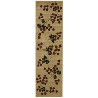 Cambridge Graceful Branches Tan Runner Rug (2'3 x 8')