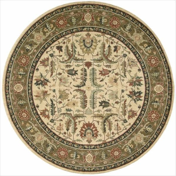 Living Treasures Ivory Khaki Wool Rug (5'10 Round)