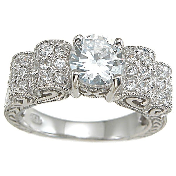Plutus Sterling-Silver Round-Cut Cubic Zirconia Antique Wedding-Style Ring