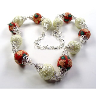 Silverplated Cream and Tangerine Orange Glass Pearl Jewelry Set