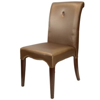 Scroll Leatherette Dark Brown Dining Chairs (Set of 2)
