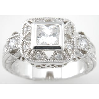 Plutus Sterling Silver Cubic Zirconia Princess Antique-style Ring