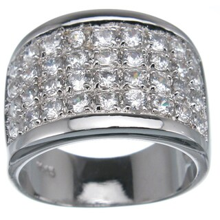 Plutus Sterling Silver Cubic Zirconia Pave Fashion Band