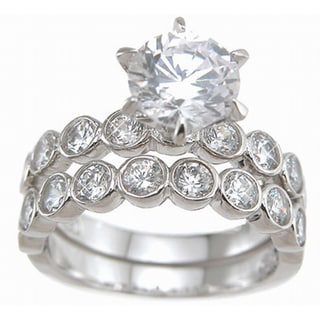Plutus Sterling Silver Cubic Zirconia 2-piece Bridal-style Ring Set