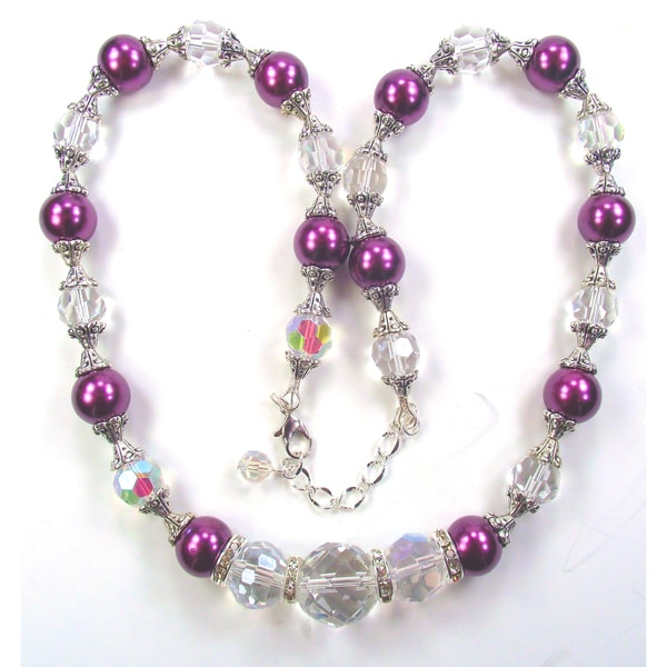 Silverplated Dark Plum Glass Pearl Wedding Jewelry Set