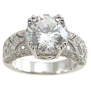Plutus Sterling Silver Cubic Zirconia Princess Art Deco Vintage Wedding-style Ring