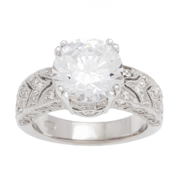 Plutus Sterling Silver 1/2 carat Cubic Zirconia Princess TGW 3 carats Art Deco Vintage Wedding-style Ring