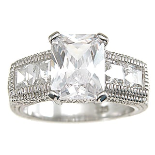 Plutus Sterling Silver Cubic Zirconia Antique Engagement-style Ring