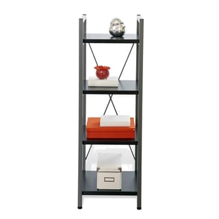 Metal Narrow Bookcase with Four Shelves