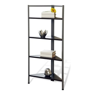 Corner Bookcase with Espresso Shelves