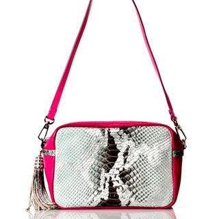 Vintage Reign 'The Boo' Snake Print and Pink Trim Leather Crossbody Bag