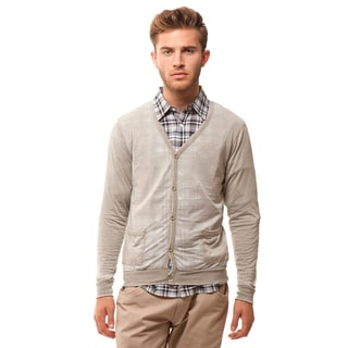 191 Unlimited Men's Slim Fit Grey Burnout Cardigan