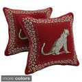 Blazing Needles Jaguars Chenille Corded Throw Pillows (Set of 2)