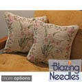 Blazing Needles Yellow Flowers Chenille Corded Throw Pillows (Set of 2)