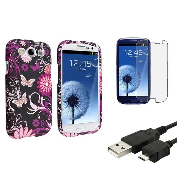INSTEN Butterfly Phone Case Cover/ Protector/ Cable for Samsung Galaxy S III/ S3