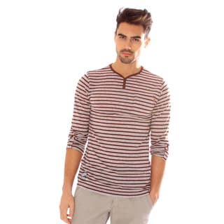 191 Unlimited Men's Slim Fit Maroon Striped Henley Tee