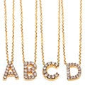 Annello 14k Yellow Gold Diamond Accent Mini Initial Letter Necklace