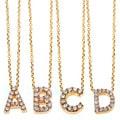 Annello 14k Yellow Gold Diamond Accent Mini Initial Letter Necklace