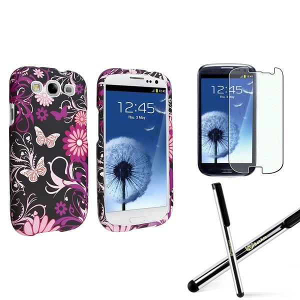 INSTEN Butterfly Phone Case Cover/ Protector/ Stylus for Samsung Galaxy S III/ S3