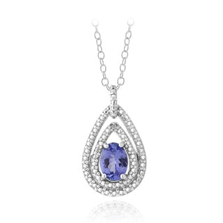 Glitzy Rocks Sterling Silver Tanzanite and Diamond Accent Necklace