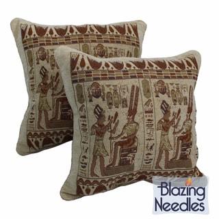Blazing Needles Egyptian Hieroglyphs Chenille Corded Throw Pillows (Set of 2)