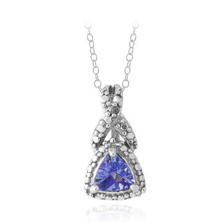 Glitzy Rocks Glizty Rocks Sterling Silver Tanzanite and Diamond Accent Necklace
