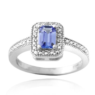 Glitzy Rocks Glitzy Rocks Sterling Silver Blue Tanzanite and Diamond Accent Ring