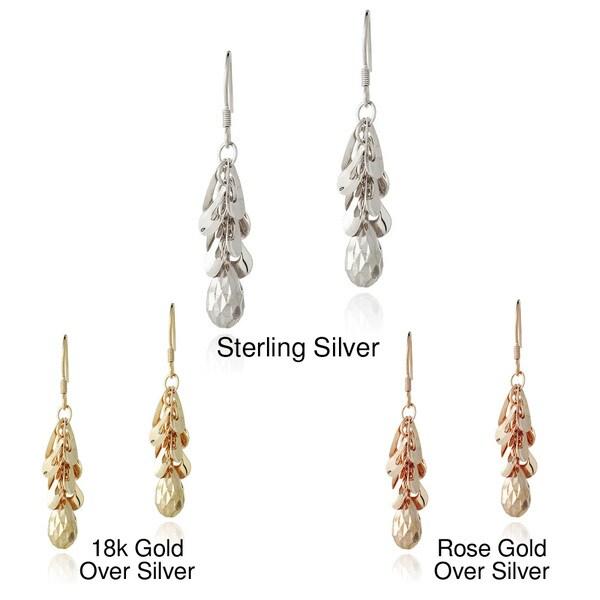 Mondevio Sterling Silver Cluster Teardrop Dangle Earrings