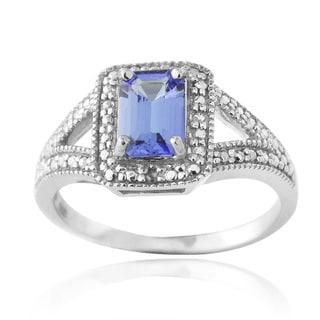 Glitzy Rocks Glitzy Rocks Sterling Silver Tanzanite and Diamond Accent Ring