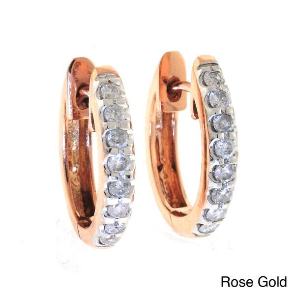 Beverly Hills Charm 14k Gold 1/2ct TDW Diamond Oval Hoop Earrings (H-I, I2)