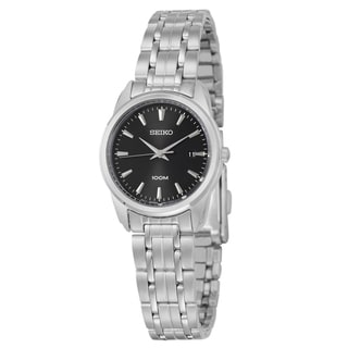 Seiko Women's 'Bracelet' Stainless Steel Black Dial Watch