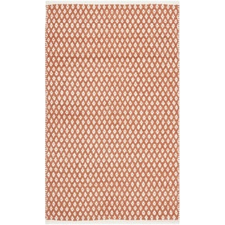Hand-loomed Moroccan Orange Cotton Rug (2'6 x 4')