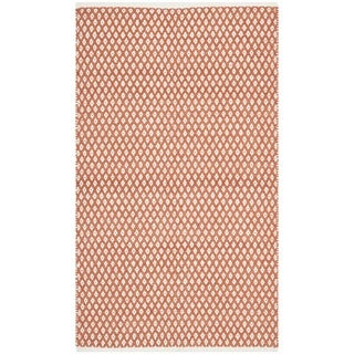 Hand-loomed Moroccan Orange Cotton Rug (4'x 6')